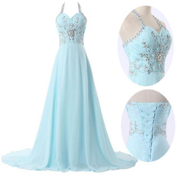 Halter beading dress evening party dress women sexy long for Light blue wedding dress meaning